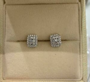 Baguette and Round Cut Diamond Studs Set in 18ct White Gold