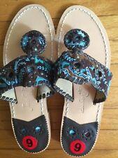 Jack Rogers Vera Bradley Navajo Peacock Brown Leather Thong Sandals * Sz 6.5*NEW