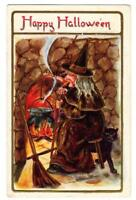 Halloween Postcard. Happy Halloween. Witch, Black Cat And Broom. Posted 1909