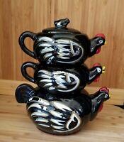 Vtg Black Redware Chicken Teapot w/ Stackable Creamer & Sugar Bowl, Hand Painted