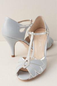 BHLDN Rachel Simpson Mimosa T Strap Heels Powder Blue Silver Size 39