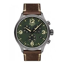 NEW TISSOT  CHRONO XL 45MM GREEN DIAL BROWN LEATHER STRAP T116.617.36.097.00