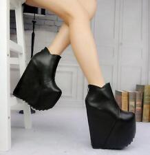 Black 37 Womens Platform Wedge High Heels Round Toe Ankle Boot Shoes Nightclubs