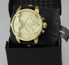 NEW AUTHENTIC DIESEL THE LITTLE DADDY GOLD BLACK LEATHER MEN'S DZ7363 WATCH