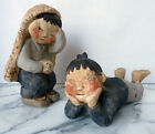 Vtg JAPANESE mid-century ART POTTERY pair CHILDREN SCULPTURES hand made figures