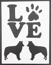 """LOVE Border Collies Collie Dog Dogs 8.5"""" x 11"""" Custom Stencil FAST FREE SHIPPING"""