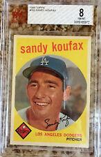 1959 Sandy Koufax Beckett Graded BVG 8 - L.A. Dodger Card #163-FREE SHIPPING!