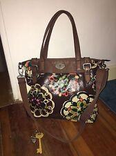 Fossil Key Per tote Braun Blumen Floral Bunt Damentasche Bag Crossbody Shopper
