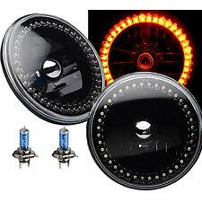"7"" Black Halogen Headlight Amber LED SC Halo Angel Eye Headlamp Light Bulb Pair"