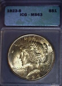 1923-S Peace Dollar ICG  MS63, Tougher Date, Bright Gold Toning, Issue Free!!