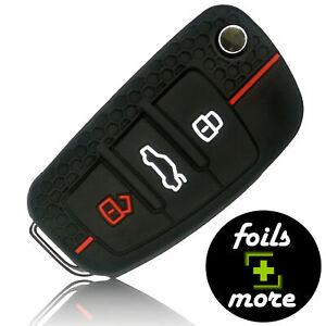Auto Schlüssel Hülle Silikon AUDI Anhänger Schutz Cover Zubehör Schwarz Rot