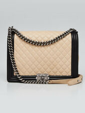 Chanel Beige/Black Quilted Lambskin Leather Large Boy Bag