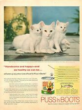 1958 vintage AD PUSS 'n BOOTS Cat Food ,photo White momma cat and kitties 082917