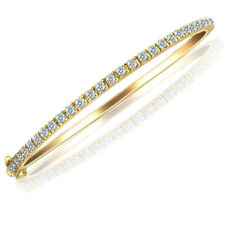 1.15 Ct Oval Shaped Diamond Stackable Hinged Bangle Bracelet 14k Yellow Gold