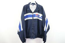 Vintage 90s Fila Mens XL Spell Out Color Block Full Zip Windbreaker Jacket Blue