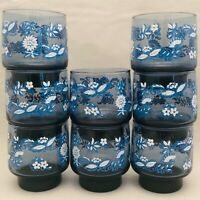 Libbey Glass Blue Onion Stackable Drinking Glass Set of 8 USA 8 Ounce Tumblers