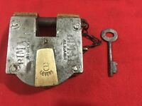 An antique  old solid brass/iron aligarh padlock decorative shackle collectible