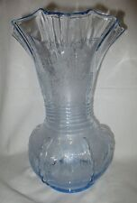 New Martinsville Radiance Flower Basket Etch Blue Vase