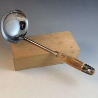 Vtg Ekco Brown/black Wood Handle Stainless Steel Wooden Ladle Chrome S&J