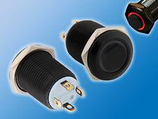 Drucktaster   Schwarz   Roter LED Ring   12mm   25VAC   2A   Vorstehend   Taster
