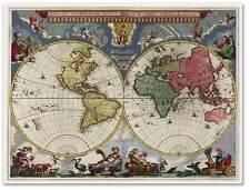 Old World Exploration MAP Nova Et Accvratissima Totius Terrarvm Orbis Tabvla