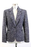 TAHARI ASL Purple Black WOVEN BLAZER Jacket Designer Modern L 12 PETITE 12P