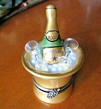 Authentic LIMOGES France Hinged Trinket Box 2000 CHAMPAGNE BOTTLE & ICE BUCKET