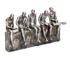 Escultura Decorativa Hombres Estilo Antiguo de Poliresina Figura Plata Estatua