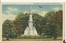 VINTAGE LINEN  POSTCARD SOLDIER'S NATIONAL MONUMENT GETTYSBURG PA