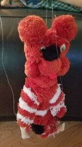 Bear Red with white strips  Marionettes String Plush Puppet 12 inch Furry Fuzzy.