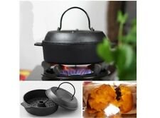 Multi-function Iron Casting Vegetable Roast Sweet Potato Pan Bake Baking 22cm #