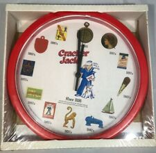 CRACKER JACK PLASTIC WALL CLOCK (RARE) 11in BATERY OPERATED (NEW)