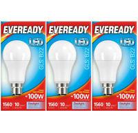 14w = 100w LED Bayonet BC GLS Light Bulb Daylight White 6500k Eveready [3 Pack]