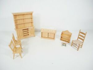 Dolls House 12th Scale Pine Kitchen Accessories Inc Sink