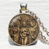 WOMEN Triple Goddess Wiccan Moon Goddess Chain Pendant Necklace Jewelry