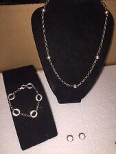 Silver 925 Necklace Bracelet Earrings Set 27grams