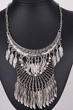 Woman Ethnic ancient Silve chain Bib Statement Chunky Leaf Pendant Necklaces