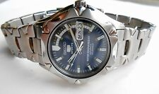 Vintage Mens Military Style Seiko 5 Sports100M WR Blue Dial Automatic WristWatch