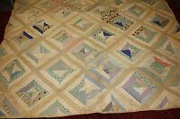 "Antique Vintage Primitive Hand Sewn Feedsack Patchwork Quilt Coverlet 74"" x 64"""
