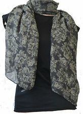 GREY VICTORIAN DELICATE LACE GOTH GOTHIC FLORAL SCARF SHAWL SARI SARONG WRAP
