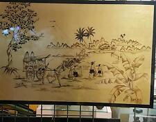 Vietnam lacquer Hanoï Thành Lê - horse ride to village
