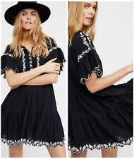 Free People Dress Santiago XS Boho Embroidered Mini Dress Black White $148 NWT
