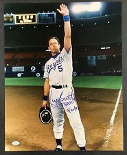 George Brett Signed Photo 16x20 3000 Hit & Date Inscription Royals Autograph JSA