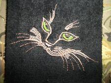 CAT/KITTEN FACE DESIGN, EMBROIDERED TOWEL, FINGERTIP TOWEL, BLACK TOWEL