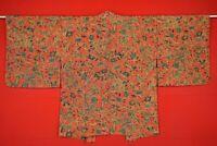 Vintage Japanese Kimono Silk Antique BORO HAORI Kusakizome Dyed/AM51/540
