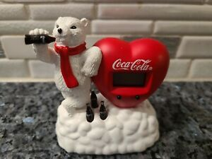 Collectible Coca Cola Polar Bear Leaning on A Heart Shaped Clock 2000