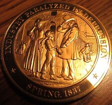 Vintage 1837 Industry Paralyzed by Depression Franklin Mint Bronze Medal Token