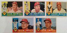5 x Topps 1960 Philadelphia Phillies baseball cards