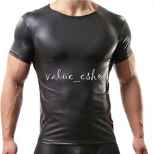 Sexy Men's Faux PVC Leather Vest Muscle T-Shirt Sport Top Undershirt Underwear M