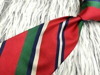 Brooks Brothers Makers ALL SILK RED GREEN BLUE STRIPED MADE IN USA NECKTIE